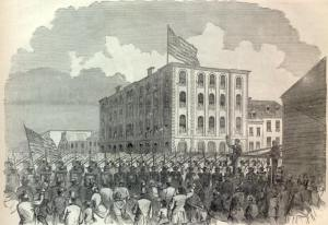 Caption from Harper's Weekly: THE THIRTEENTH REGIMENT NEW YORK STATE MILITIA LEAVING THEIR ARMORY IN BROOKLYN FOR THE WAR, APRIL 23, 1861