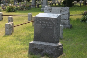 Peter Mead's grave in St. Paul's German Presbyterian Cemetery, Elmont, NY.