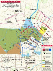 Barlow sets the stage for the rout. 1 Jul 1863 at Gettysburg.