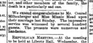 Conrad and Minnie's wedding congratulations in the Hempstead Sentinel. (18 Oct 1888)
