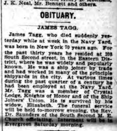 James Tagg's Obituary. Brooklyn Standard Union (23 Oct 1903)