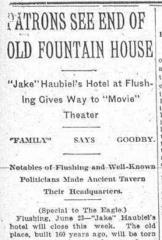 Fountain House headline, Brooklyn Daily Eagle, 23 June 1914